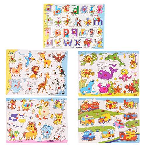 5 Rompecabezas de Madera para Niños Bebés Infantil| Colores Vibrantes, Madera Premium con Bordes Lisos, Resistente| Animales Alfabeto ABC Vehículos| Juguete Puzzle Educativo Divertido.