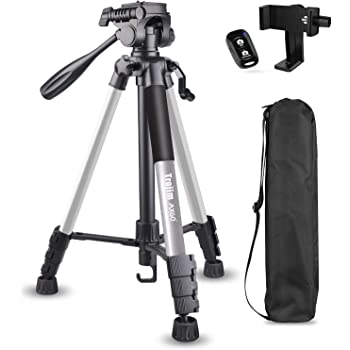 "Torjim 60"" Camera Tripod with Carry Bag, Lightweight Travel Aluminum Professional Tripod Stand (5kg/11lb Load) with Bluetooth Remote for DSLR SLR Cameras Compatible with Phone-Silver"
