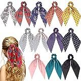 Sunaction 12 Pcs Hair Scarf Hair Scrunchies Satin Silk Hair Scarves Ribbon Scrunchie,Ponytail Scarf Scrunchies for Women Girls
