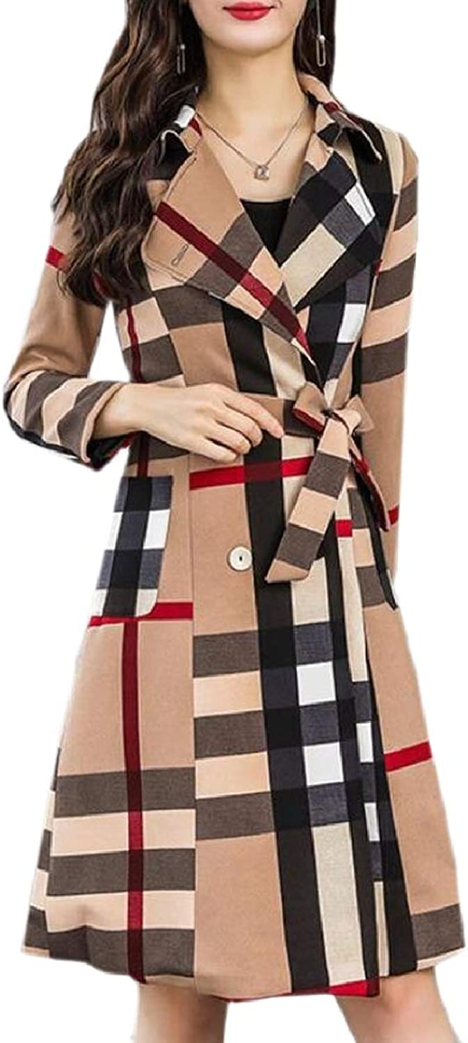ZXFHZSCA Womens Double Breasted Plaid Belted Long Trench Coat Jacket Overcoat