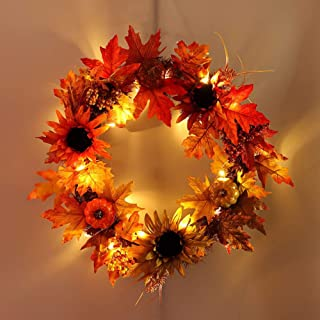 MiyaSudy Pumpkin Maple Leaves Wreath Fall Leaf Sunflowers Berries Front Door Window Wall Thanksgiving Wreath Decoration