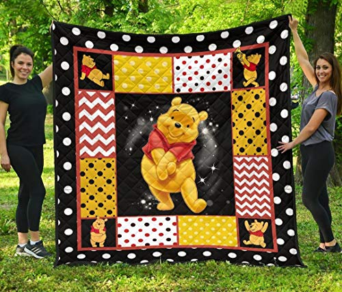 Pooh Quilt Winnie The Pooh Quilt All-Season King Queen Twin Size Beach Trips, Quilt Sets Birthday Thanksgiving Xmas for Dad Mom Husband Wife Kids Son Daughter