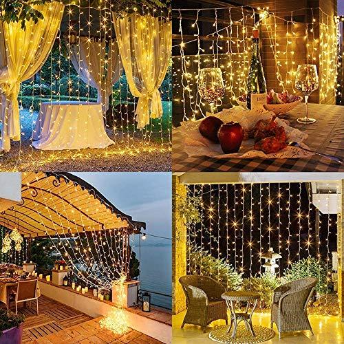 Tenda Luminosa,TECHVIDA Tenda con Catena di Luci LED,3 x 3 m 300 LED Luci Stringaimpermeabilità IP44,Luci per Tende Luci Cascata per Decorazione Festiva,Natale, San Valentino,Compleanno ecc