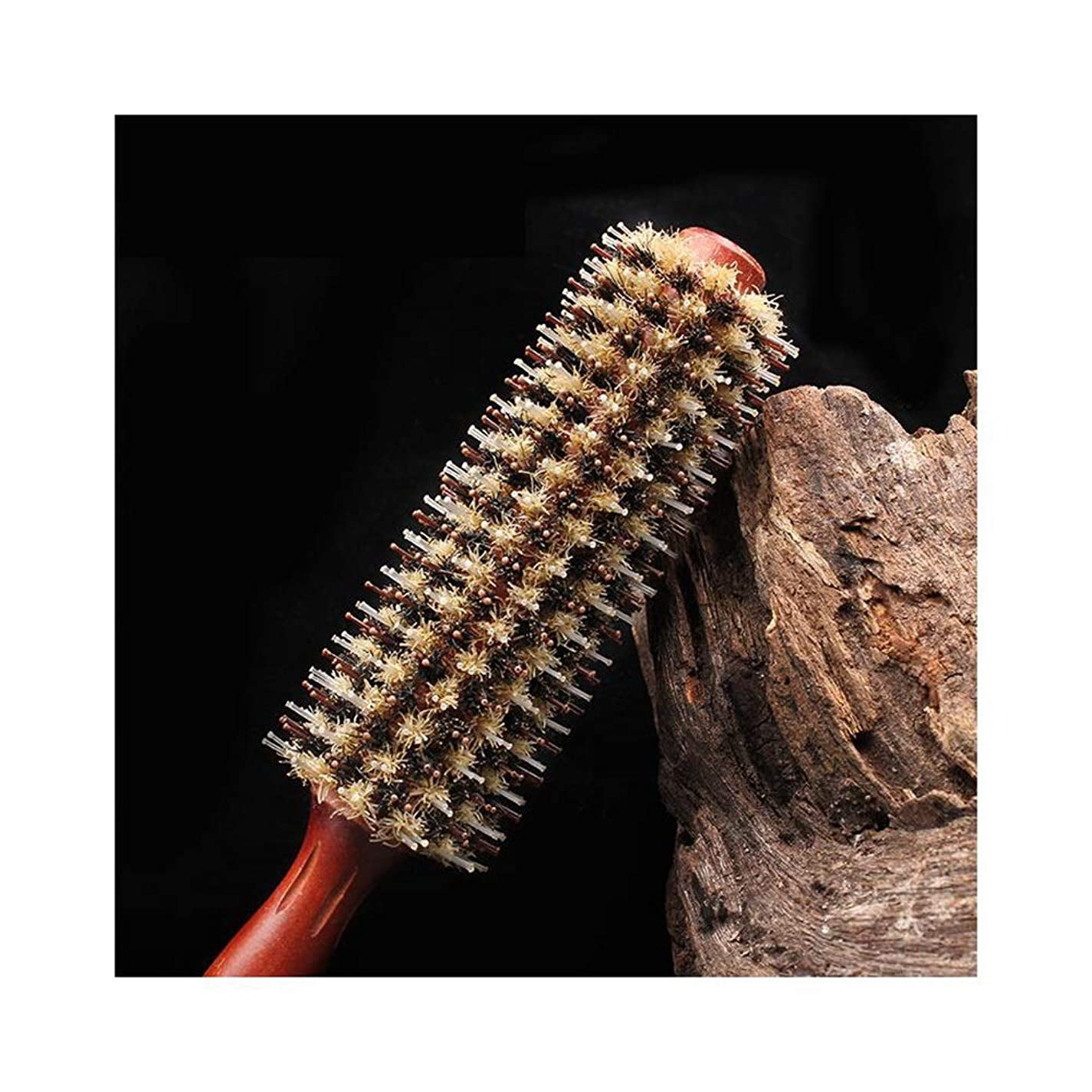 翻訳可愛いフォーカスWASAIO 毛ブラシすべての毛のための木製の丸い毛のブラシ木製のイノシシの剛毛の毛の櫛 (サイズ : 18 rows)
