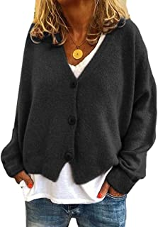 Womens Casual Button Down Long Sleeve Knitted Cardigan Sweater Outwear