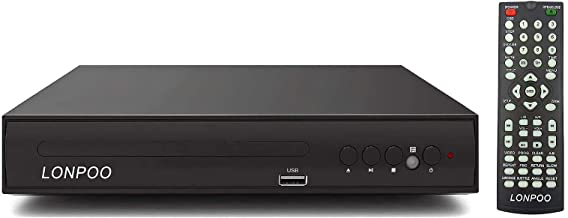 Progressive Scan DVD Player for TV, LONPOO Region Free Home DVD Player CD Player with RCA Cable, USB Port & DivX Playback