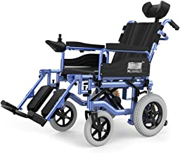 Lightweight Wheelchairs Folding Up Electric with Headrest,All Terrain Folding Portable Powerchair,seat Width 45cm, 360° Joystick,500w 24v 15A Li-ion Battery,34kg for Disabled Elderly