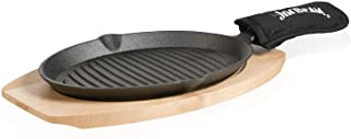 Jim Beam JB0159, Heavy Duty Construction, Pre Seasoned Cast Iron Skillet with Wooden Base and Mitt, Black,Small