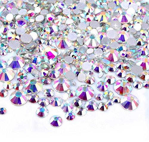 Zealer 2mm - 6mm Resin Crystal AB Round Nail Art Mixed Flat Backs Rhinestones Gems  M1-30  Mix Size  450 Piece