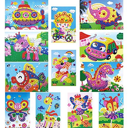 WENTS Mosaik Aufkleber Kunst für Kinder handgefertigte Puzzles Bastelsets Angel Auto Boot Tiere 12pcs Dinosaur Puzzle Mosaic Stickers DIY Crafts