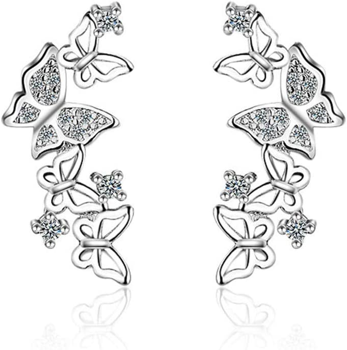 Underleaf Butterfly Crystal Cuffs Climber Ear Stud Earring