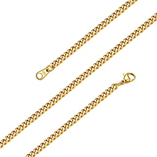 18K Gold Plated Chains for Men, Rapper Chains, Chunky Curb Chain Necklace, Basic Chain Necklace for Men Women W: 3MM/6MM/9MM/12MM, L: 18/22/26/28/30 inch