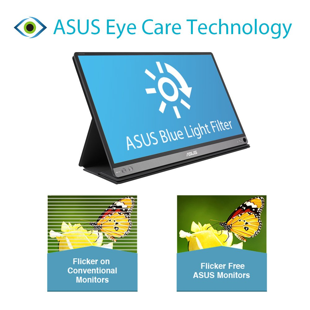 ASUS ZenScreen MB16AC 15.6 Inch USB Type-C Portable Monitor, FHD (1920x1080), IPS, Flicker free, Low Blue Light, TUV certified, Compatible with USB Type-A