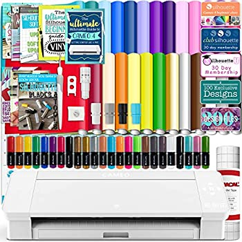 Silhouette White Cameo 4 Starter Bundle with 26 Oracal Vinyl Sheets Transfer Paper Class Guides and 24 Sketch Pens