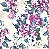 FS352Delphinium rosa blu floreale sartoria SCUBA tessuto base avorio