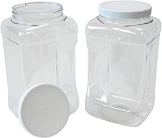 CSBD 1 Gallon Clear Plastic Jars with Ribbed Liner Screw On Lids, BPA Free, PET Plastic, Made in USA, Bulk Storage Contain...