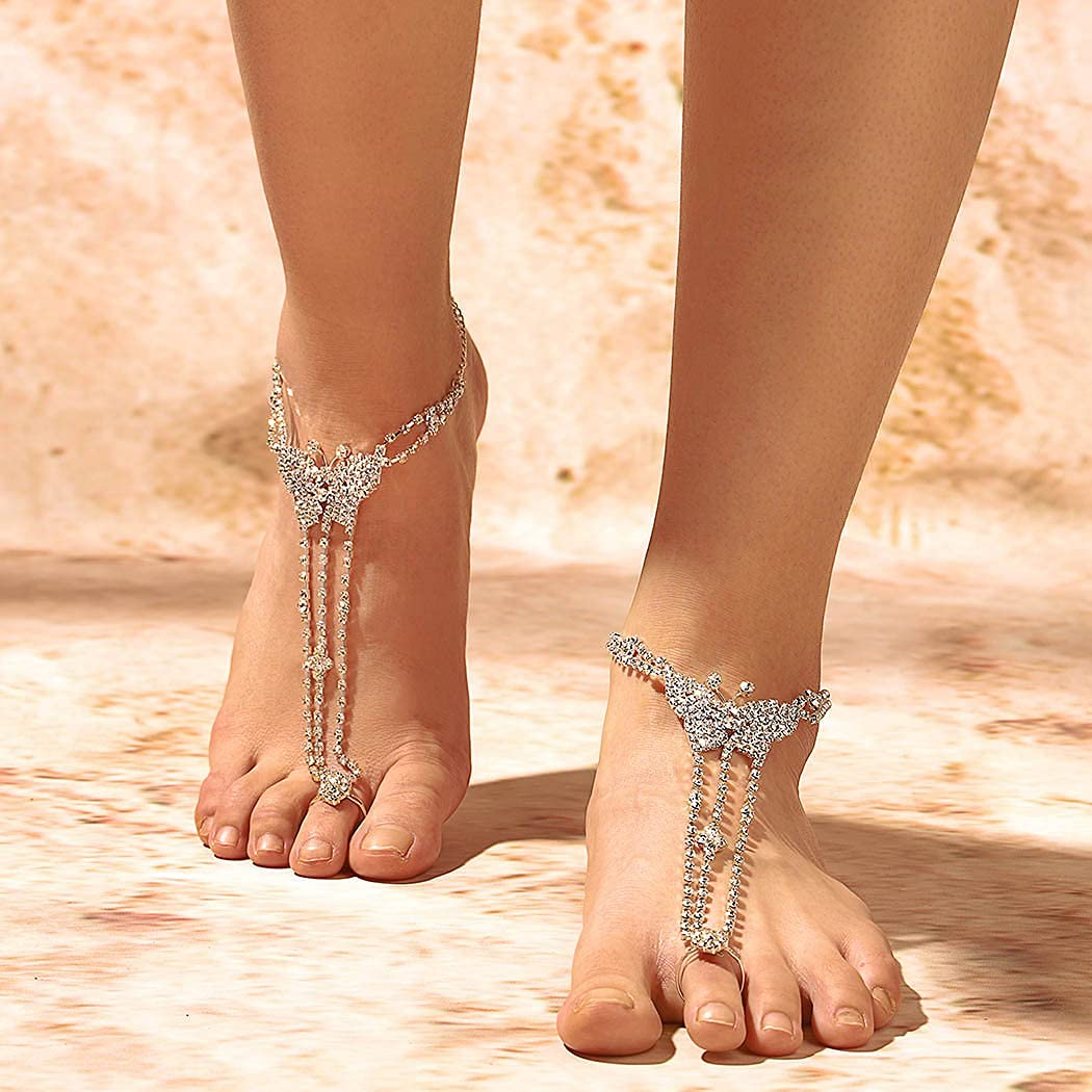 Campsis Boho Rhinestone Anklet Sliver Beach Ankle Chain Bracelet Butterfly Crystal Foot Anklet Chains Barefoot Sandal Summer Wedding Jewelry Accessories for Women and Girls(2pcs)