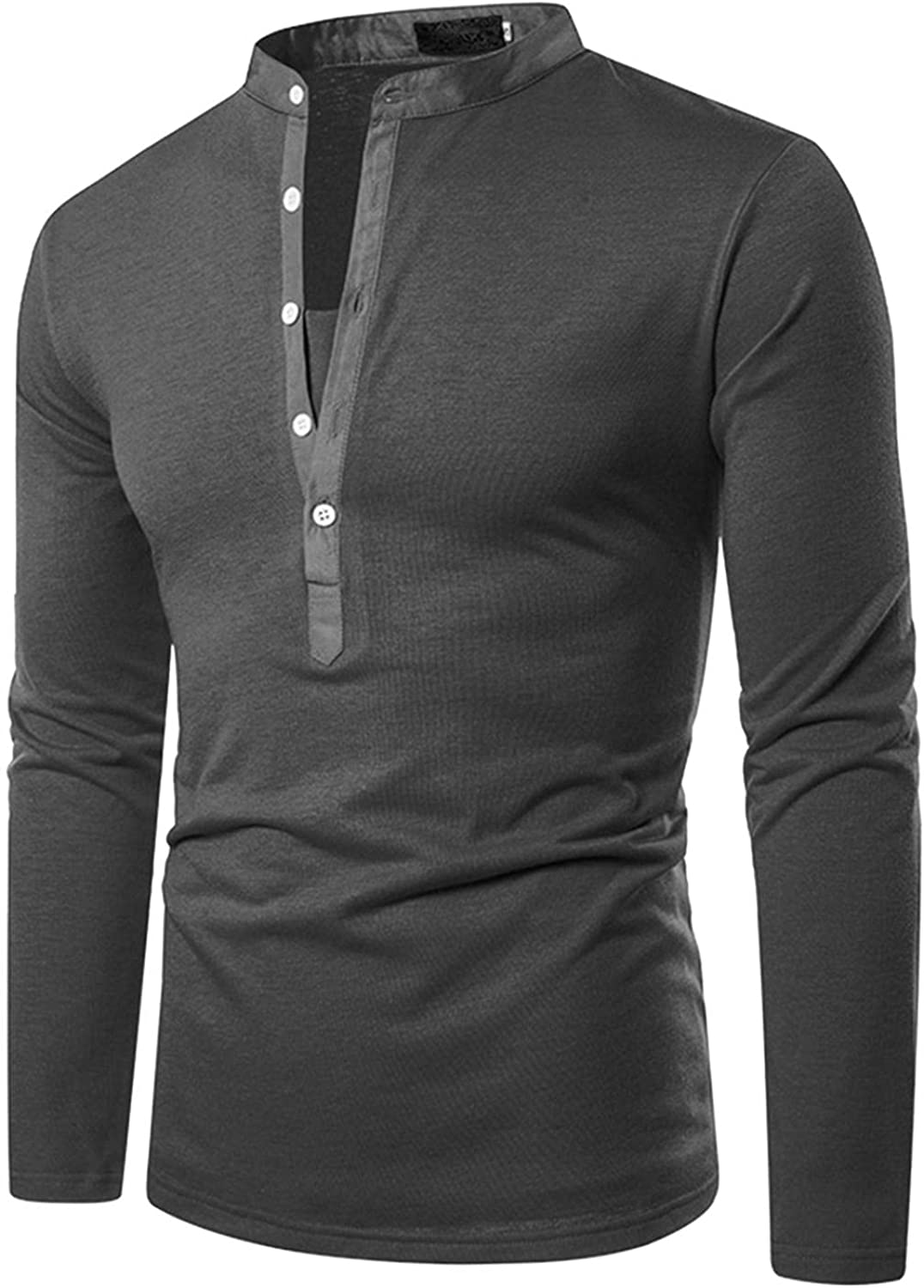 FUNEY Men's Henley Cotton Casual Long Sleeve Lightweight Button V Neck T-Shirts Slim Fit Basic Big and Tall Fashion Tops