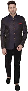 Men's Banarsi Rayon Cotton Casual and Festive Indian Jodhpuri Grandad Bandhgala Blazer : 2 Colors