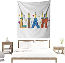Agoza Liam Decorative Tapestry English First Name in a Colorful Letter Style Cake Design with Bite Marks and Candles Home Decorations for Bedroom Dorm Decor 60W x 91L INCH Multicolor