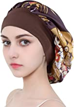 Satin Sleep Bonnet Cap for Women, Wide Band Satin Sleeping Caps Night Hat Head Cover for Natural Hair Loss (Brown Flower)