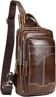 Leather Sling Bag Casual Backpack for Men Women Shoulder Chest Daypack