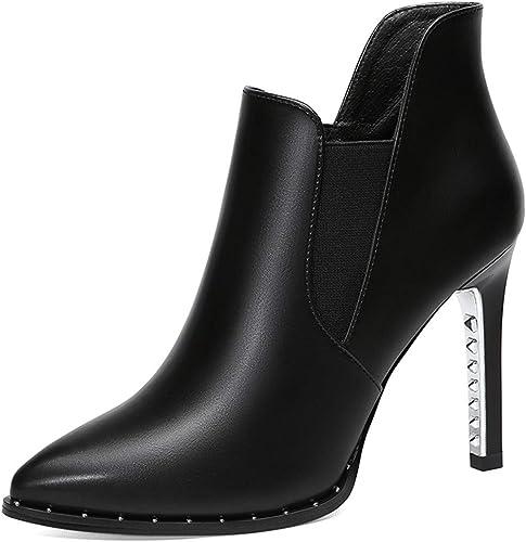 GTVERNH Chaussures Femmes Bon Et Court Les Bottes Bottes De Sauvages Pointed.9Cm Talons Hauts Mahomme Dingxue.