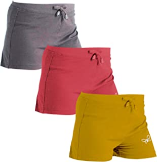 Vachi Girls Shorts for Cycling Gym Yoga Pack of 3 (Multi-Coloured-1, 14-16 Years)