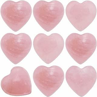 SUNYIK Natural Rose Quartz Pocket Mini Puff Heart Worry Healing Palm Stone Pack of 10(0.5