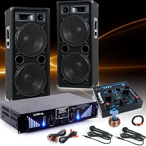 etc-shop 3000W PA Karaoke Party Musikanlage Boxen Bluetooth Endstufe USB MP3 Mixer Mikrofon DJ-Black 2
