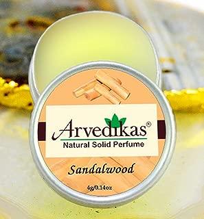 Arvedikas Sandalwood Natural Solid Perfume Beeswax/Mini Jar/Floral Fragrance/Sandalwood Perfume/Essential Oil Blend Perfume Alcohol Free/Body Musk Parfum 4gm (23 Varieties) (Sandalwood)