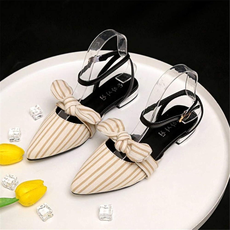 DsfddaeS Sandalen, Damen Sandalen, Spitze Sandalen, Damen Sommer Flache Sandalen, gestreifte Word Buckle Bow Toe rmischen Stil Damenschuhe