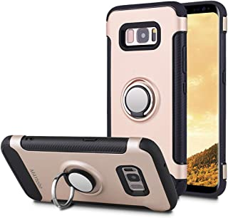MAYtobe Galaxy S8+ Plus Case - Ultra Defender TPU + PC Shock Protective Ring Holder Case for Samsung Galaxy S8+ Plus (2017 Release) Work with Magnetic Car Mount 360 Rotating - Rose Gold