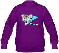 DASY Women's O-neck Teen Titans Go Cyborg Hoodies Medium Purple