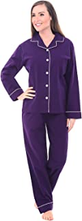 Women's Warm Flannel Pajama Set, Long Button Down Cotton Pjs