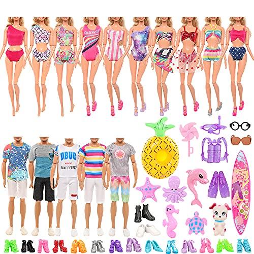 Miunana Lot 42 = 5 Kleidung + 2 Schuhe + 1 Surfbrett für Jungen Puppen + 3Pcs Tauchen Set + 10 Badenanzug + 10 Schuhe + 1 Rettungsring + 1 Hund + 2 Brille + 7 Marinezubehör für Puppen