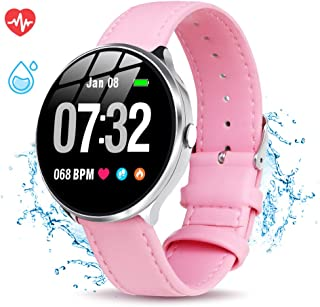 GOKOO Smart Watch for Women with All-Day Heart Rate Blood Pressure Sleep Monitor Waterproof Calorie Counter Step Reminder 1.3 inch Touchscreen Leather (Pink)