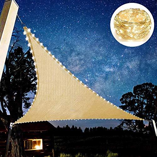 Vela De Protección Solar con Cadena De Luz LED, Vela De Sombra Triangular Pantalla De Protección UV para Jardín Balcón Y Terraza 5x5x5m