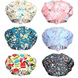 SATINIOR 6 Pieces Caps with Buttons Elastic Bouffant Turban Cap Printed Working Hats with Sweatband Unisex Tie Back Hats Hair Covers