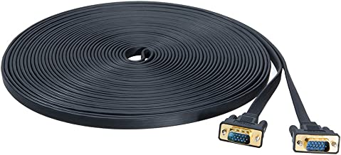 DTECH Computer Monitor VGA Cable 65 FT 15 Pin Male to Male Cord Adapter 20m Long Slim Flat Black