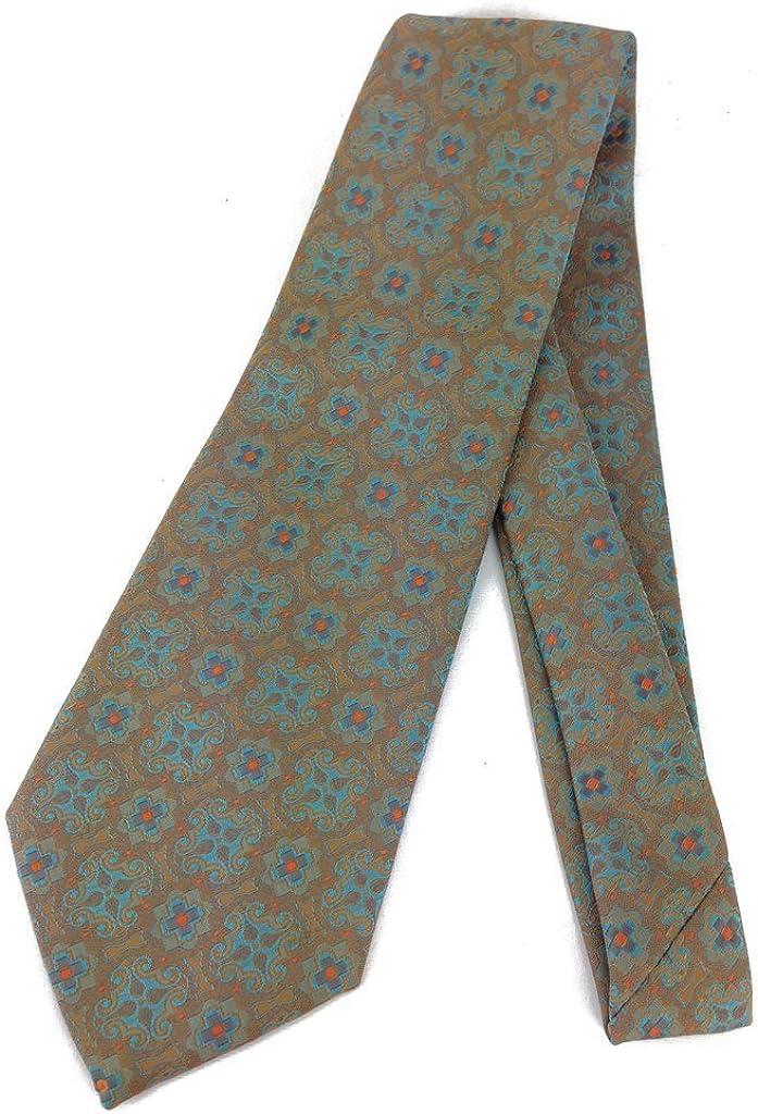 Gold Turquoise Vintage Neck Tie - Jacquard Weave Wide Kipper Necktie