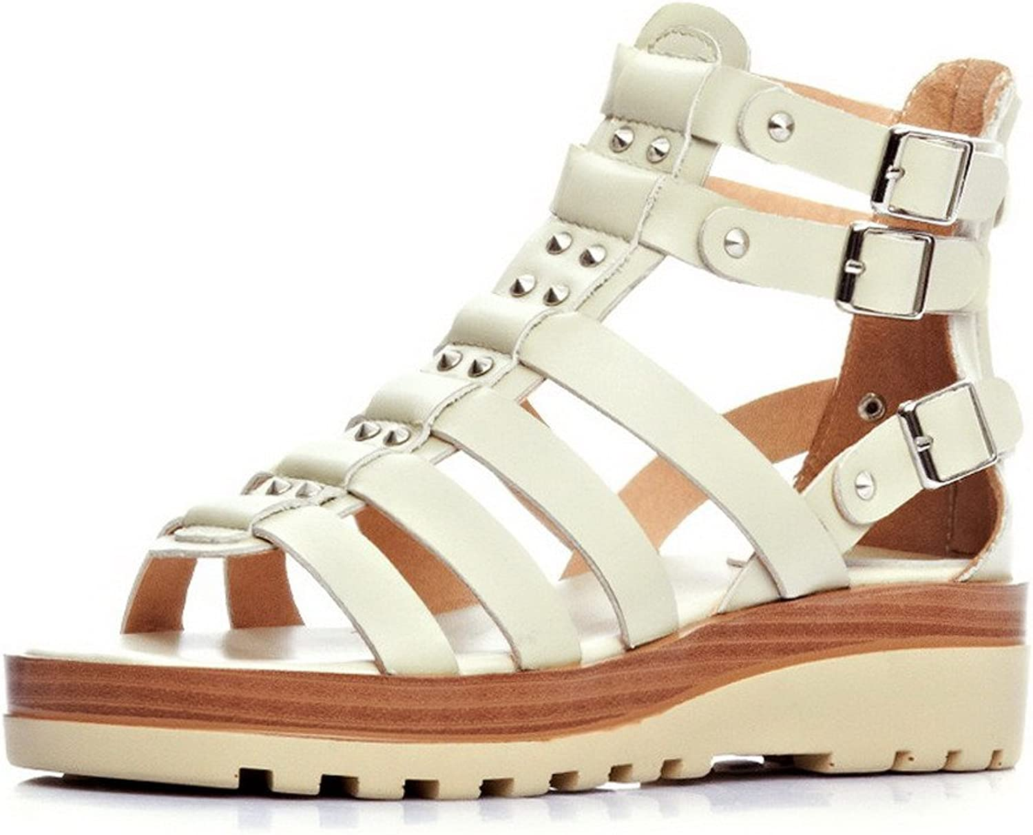 AllhqFashion Women's Open Toe Low Heels Cow Leather Solid Sandals with Wrist Strap and Studded