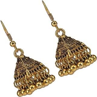 Prettyia Indian Vintage Bollywood Gypsy Triangle Birdcage Dangle Earrings Traditional Jhumka Jhumki Earrings Hook for Women and Girls
