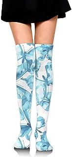 MKLOS 通気性 圧縮ソックス Breathable Spring Fall Winter Over Knee Leg Warmer Thigh High Tube Boot Socks Girls Leggings Blue Butterfly Stockings Women Girl