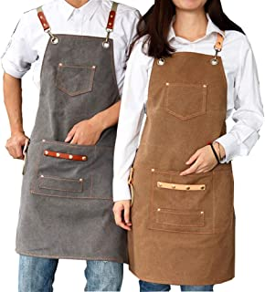 Apron,2020 New Thick Canvas Unisex Apron Bib Chef Kitchen Aprons for Women Men Coffee Shop Barber BBQ Bib Working Uniform,...