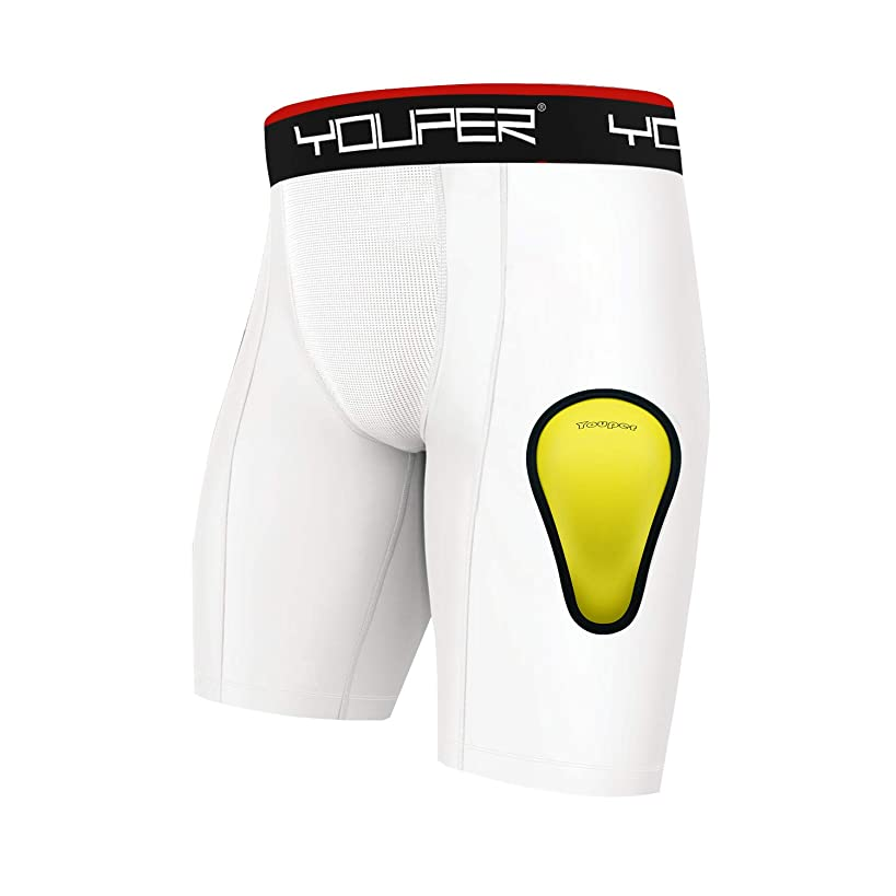 Youper Athletic Supporter, Compression Shorts w/Soft Protective Athletic Cup, Youth & Adult Sizes
