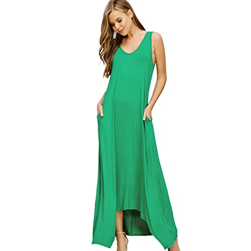 66d2e2775 Annabelle Women's Casual V Neck Sleeveless Tank Top Long Maxi Dresses with  Pockets