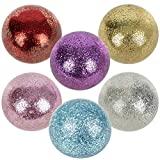 HOWBOUTDIS 4-Inch Large Glitter Soft Squeezable Stress Ball for Kids and Adults Beautiful Glittery Colored Stress and Anxiety Relieving Toy (Assorted Colors/Colors May Vary) Ages 3+