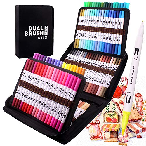 Rotuladores para colorear de punta fina y cepillada, 120 bolígrafos de acuarela