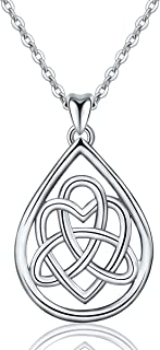 INFUSEU Sterling Silver Celtic Knot Pendant Necklace for...